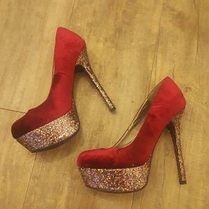 Sparkly Maroon Pumps